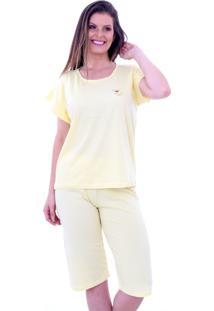 Pijama Algodão Mechler Pescador Japonês Amarelo