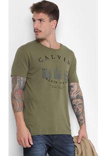 Camiseta Calvin Klein Masculina - Masculino-Verde Militar