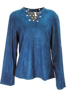 Blusa Infinity Fashion Suede Azul - Kanui