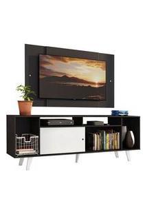 Rack Madesa Cancun E Painel Para Tv Até 58 Polegadas Com Pés - Preto/Branco 7777 Cor:Preto/Branco