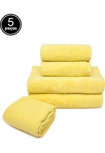 Jogo De Banho 5Pçs Buddemeyer Borgonha Amarelo