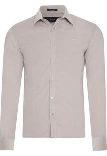Camisa Masculina Light Corduroy Slim French - Bege