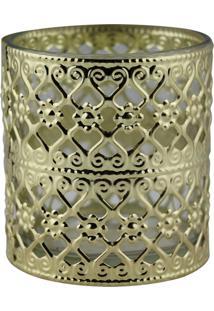 Castiçal De Metal E Vidro Decorando Com Classe Dourado 7,5Cm X 8Cm