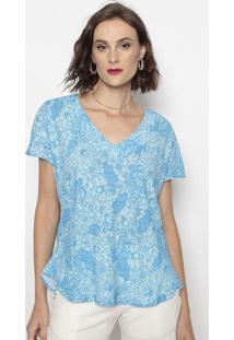 Blusa Floral- Azul- Cotton Colors Extracotton Colors Extra