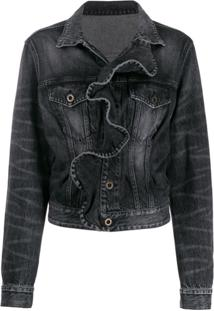 Unravel Project Ruffled Denim Jacket - Preto