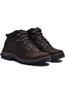 Sapato Coturno Boot Em Couro Nobuck Masculino Adventure - Masculino-Cafe