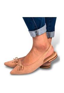 Mule Feminino Sapatilha Rasteirinha Camurça Confortável Bege Eleganteria