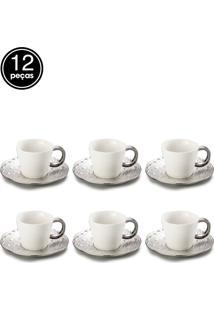 Jogo De 12 Pçs Xícaras Para Chá Com Pires De Porcelana Super White Drop 200Ml Lyor