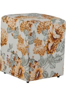 Puff Quadrado Cubo Jacguard Floral Amarelo Ii
