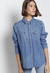 05a6c16c83 ... Camisa Jeans Com Botões & Bolsos - Azullevis