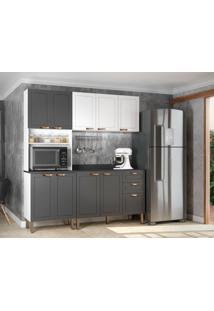 Cozinha Compacta Nevada Vii 9 Pt 3 Gv Grafite E Branca