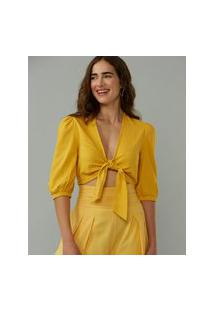 Amaro Feminino Blusa Cropped Decote Amarração, Amarelo