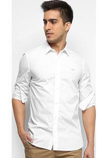 Camisa Lacoste Manga Longa Básica Live Masculina - Masculino-Branco