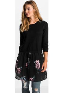 Blusa Com Sobreposição Mangas Longas Preto/Floral