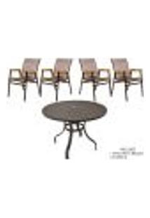 Jogo De Mesa Com 4 Cadeiras Para Jardim Piscina E Área Externa, Móveis De Alumínio Com Fibra Sintética, Tela Sling - Sarah Móveis