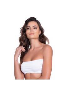 Sutiá Click Chique Básico Top Faixa Tomara Que Caia Branco