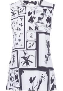 Regata Feminina Sleeveless Floral - Off White