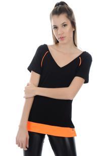 Camiseta Manga Curta Pinyx Shine Preto E Laranja - Tricae