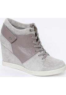 Sneaker Em Couro Com Ortholite® - Cinza & Cinza Escuro