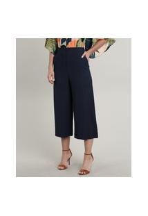 Calça Feminina Pantacourt Com Bolsos Azul Marinho