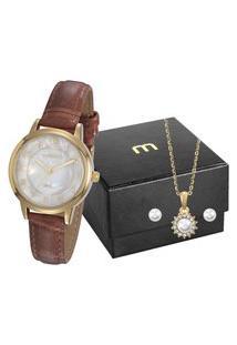Kit De Relógio Analógico Mondaine Feminino+ Branco+ Colar -76742Lpmvdh1K1 Dourado