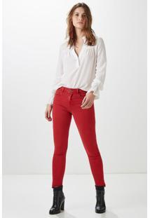Calça Slim Color Cintura Média Vermelho Cereja - 38
