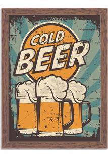 Quadro Decorativo Retrô Cold Beer Madeira - Grande