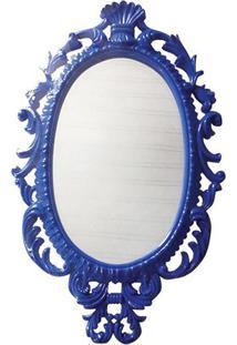 Espelho Oval Giant Princess- Espelhado & Azul Escurobtc Decor
