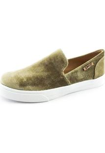 Tênis Slip On Quality Shoes Feminino 004 Veludo Bege 34