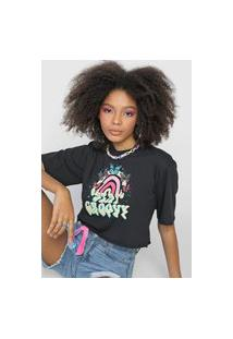 Camiseta Cropped Forever 21 Stay Groovy Preta