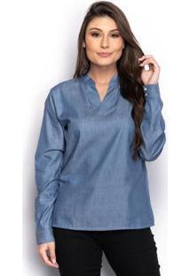 Camisa Camisete Bata Jeans Feminina Lisa Manga Longa Casual - Feminino-Azul Petróleo+Azul