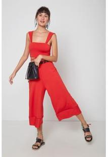 Calça Pantacourt Bicolor Pop - Oh, Boy! Feminina - Feminino-Vermelho