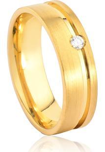 Aliança De Ouro 18K Anatômica Fosca Com Friso Polido E Diamante (5,90Mm)