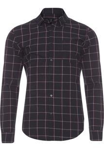Camisa Masculina Cotton Riva - Preto