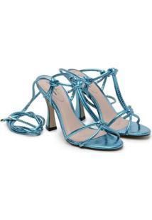 Sandália Deodora Store Amarração Metalizada Feminina - Feminino-Azul