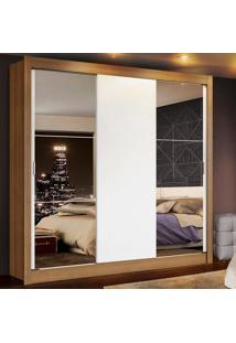 Guarda Roupa Casal Madesa Mônaco 3 Portas De Correr Com Espelhos Marrom - Tricae