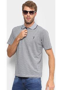 Camisa Polo Aleatory Diferenciada Jacquard Masculina - Masculino-Azul