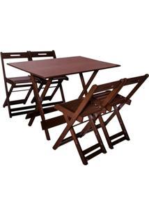 Jogo Com 4 Cadeiras Dobrável 120X70 Imbuia - Btb Móveis