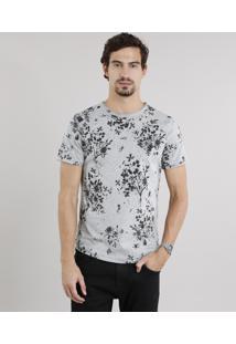 Camiseta Masculina Slim Fit Estampada Floral Manga Curta Gola Careca Cinza Mescla