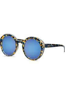 Óculos De Sol Arredondado Em Acetato Tartaruga Azul