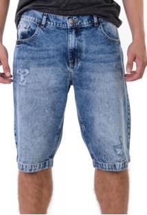 Bermuda Jeans Marmorizada Suave Com Puídos