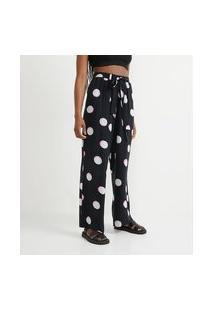 Calça Pantalona Em Viscose Com Estampa Poá   Blue Steel   Preto   Pp
