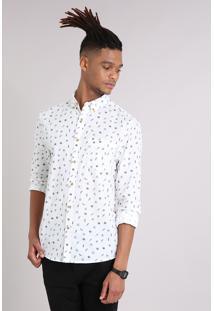 Camisa Masculina Mini Print Folhagem Com Bolso Manga Longa Off White