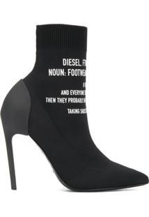 Diesel Bota Meia Com Logo - Preto