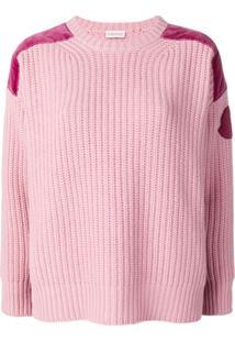 Moncler Suéter Com Recorte De Veludo - Rosa