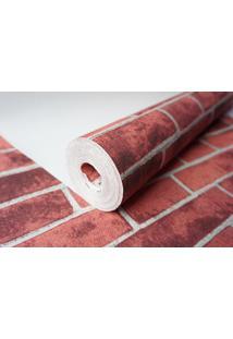 Papel De Parede Texturizado Maya Wallpaper 0,53 X 10M Tijolinho Vermelho
