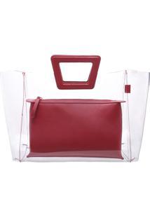 Bolsa De Mão - Incolor & Vermelho Escuroschutz