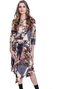 Vestido Carbella Midi Viscolycra Fine Estampado Floral Azul