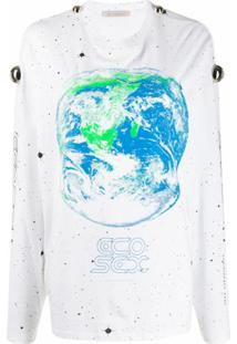 Christopher Kane Camiseta Mangas Longas Com Estampa Planeta Terra - Branco