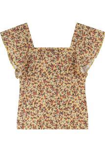 Blusa Amarela Floral Canelada